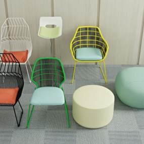 现代休闲椅3D模型【ID:733294008】