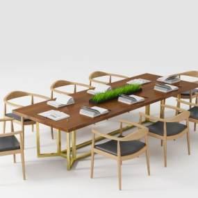 北歐輕奢風格鋼木會議桌3D模型【ID:950190151】