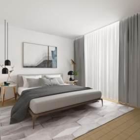 北欧双人床吊灯床头柜组合3D模型【ID:842472788】