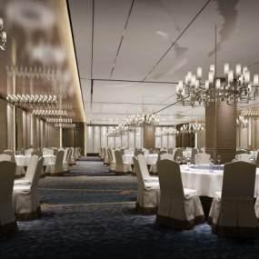 新中式奢华酒店宴会厅3D模型【ID:747410276】
