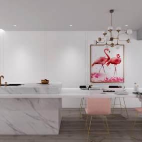 现代餐厅吧台吧椅餐具挂画组合3D模型【ID:530430197】