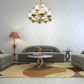 现代弧形沙发组合3D模型【ID:631985765】