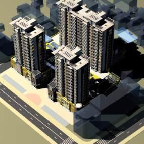 现代DBC建筑群鸟瞰图3D模型【ID:132712698】