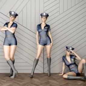 现代性感女警察模特人物3D模型【ID:330644003】