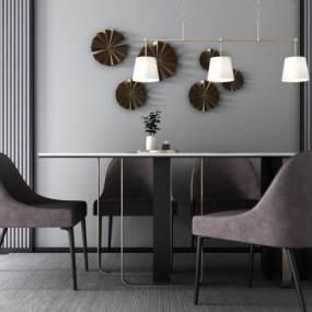 北欧餐桌椅吊灯组合3D模型【ID:733731144】