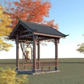 中式亭子3D模型【ID:152578459】