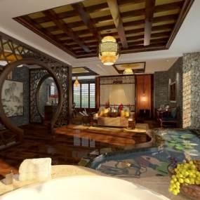 传统中式酒店客房3D模型【ID:734816326】