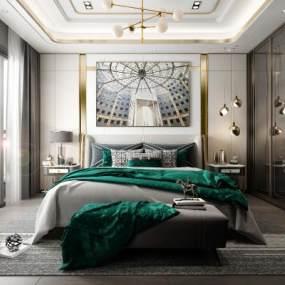 现代卧室3D模型【ID:549310256】