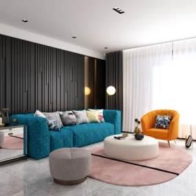 现代客厅沙发组合3D模型【ID:530431021】