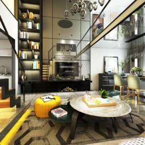 现代别墅客厅3D模型【ID:544397082】