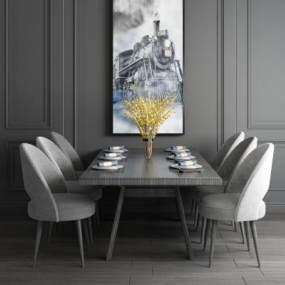 现代餐厅桌椅餐桌壁画背景组合3D模型【ID:537138139】