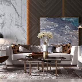 现代轻奢沙发茶几组合3D模型【ID:635808790】