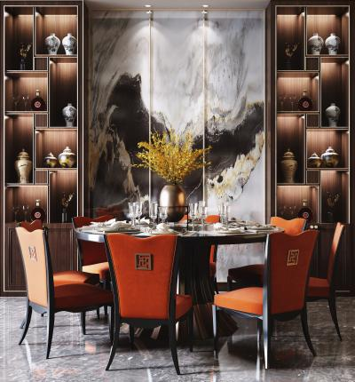 新中式奢华圆形餐桌椅酒柜组合