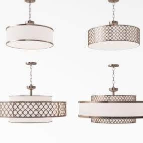 新中式金属吸顶灯吊灯组合3D模型【ID:832130408】