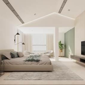 现代简约卧室3D模型【ID:535928238】