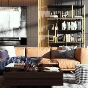 现代皮质沙发3D模型【ID:649453708】
