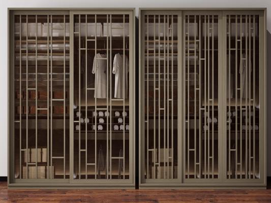 新中式衣柜3D模型【ID:145857451】