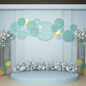 现代婚庆合影区背景墙3D模型【ID:232315572】