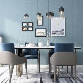 北欧餐桌椅组合3D模型【ID:835948885】