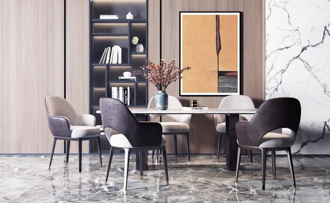 現代輕奢大理石餐桌椅組合3D模型【ID:742076118】
