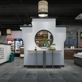 新中式休闲餐厅3D模型【ID:647177268】