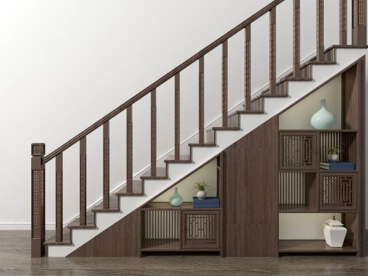 新中式樓梯儲物柜3D模型【ID:340680517】