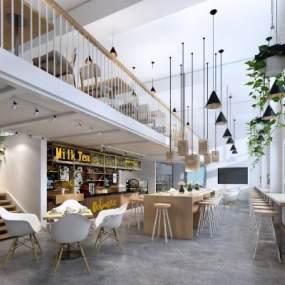 现代风格咖啡厅3D模型【ID:646698342】