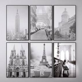 现代建筑风景装饰挂画组合3D模型【ID:253849912】