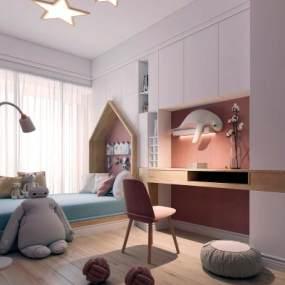北歐臥室3D模型【ID:350901425】