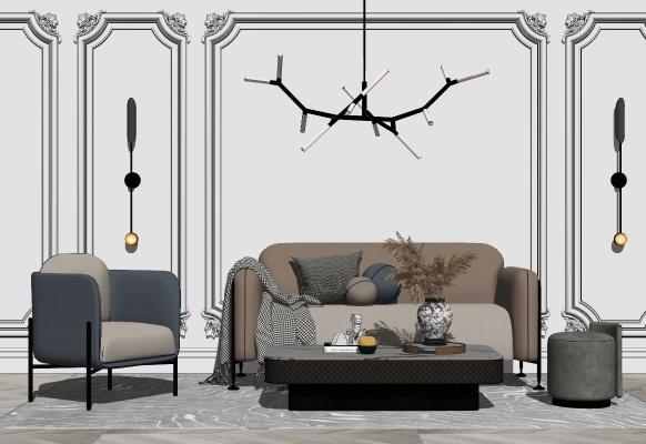现代沙发茶几组合SU模型【ID:453850117】