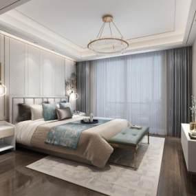 现代轻奢卧室3D模型【ID:543473246】