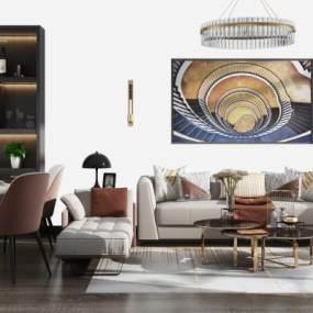 现代沙发茶几餐桌酒柜组合3D模型【ID:635864740】
