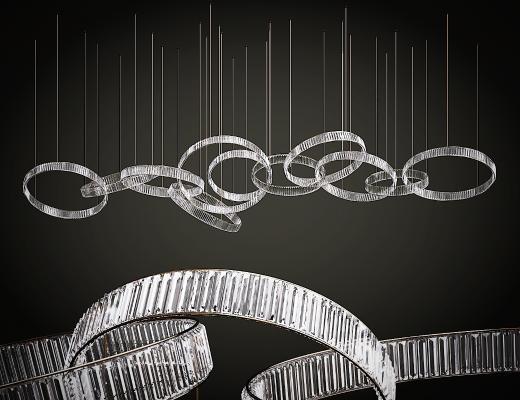 现代玻璃圆环吊灯