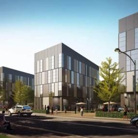 现代商业街办公玻璃幕墙建筑外观3D模型【ID:132753965】