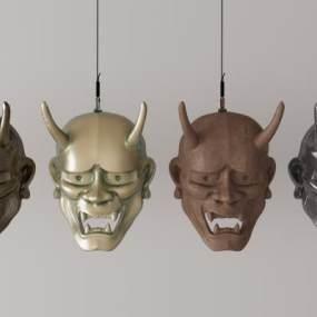 日式能乐面具组合3D模型【ID:630617389】