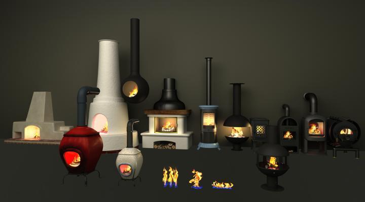 工業風壁爐3D模型【ID:143548812】