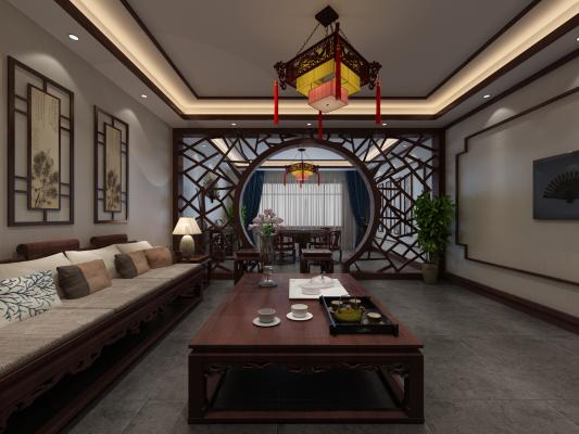 中式茶樓3D模型【ID:641748649】