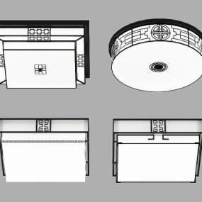 新中式吸顶灯3D模型【ID:830931023】