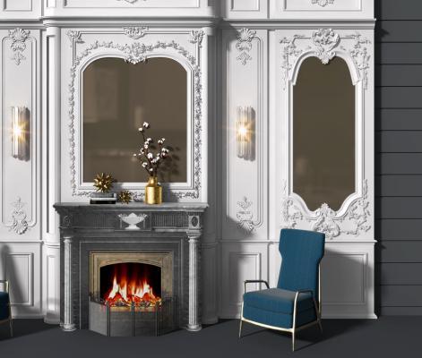 法式壁炉背景墙3D模型【ID:344236611】