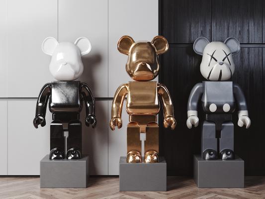现代熊金属雕塑3D模型【ID:345485130】