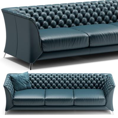 新古典现代皮革三人沙发3D模型【ID:632560617】