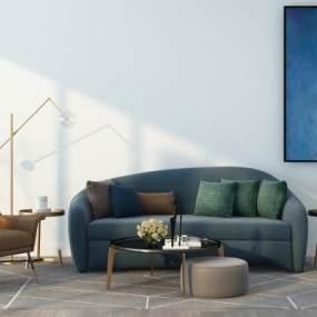 现代轻奢沙发休闲椅子组合3D模型【ID:640599753】