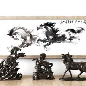 新中式马雕塑装饰摆件组合 3D模型【ID:342153132】