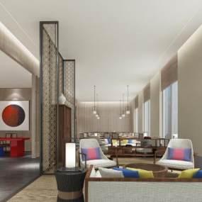 新中式酒店大堂3D模型【ID:752613011】