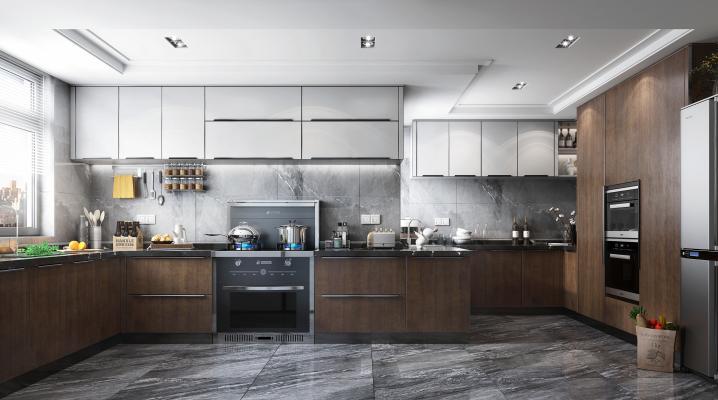 現代風格廚房3D模型【ID:551233311】
