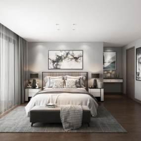 现代卧室3D模型【ID:553437211】