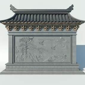 中式迎客松景墙3D模型【ID:132951464】