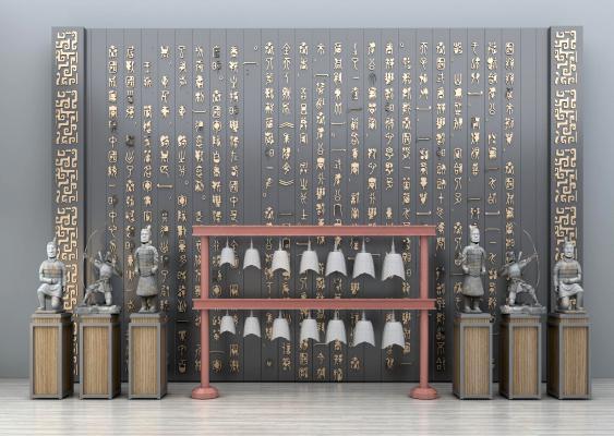新中式樂器雕塑擺件文化墻組合3D模型【ID:335726961】