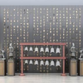 新中式乐器雕塑摆件文化墙组合3D模型【ID:335726961】