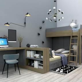 现代儿童上下床上下铺电脑桌组合3D模型【ID:830538808】